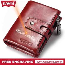 KAVIS Free Engraving Vintage Genuine Leather Wallet Men PORTFOLIO Gift For Male Cuzdan Portomonee Perse Coin Purse Pocket Vallet
