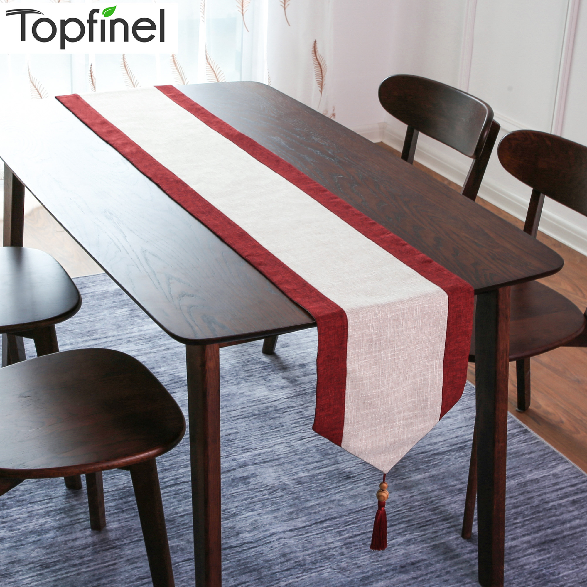 Topfinel Table Runners Cotton Linen Fabric With Tassels Table Top Decoration Home For Dining Room Kitchen Outdoor Wedding Party
