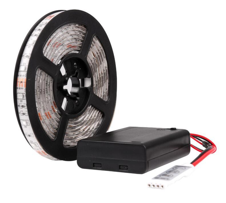 battery Led Strip Light Waterproof 2m 1m 0.5m 3528 LED Flexible Strip Tape String warm white + Battery Box Mini Remote x 5pcs