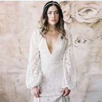 Long Sleeves Informal Lace Wedding Party Dress 2018 Modest Robe de mariee Vintage New arrival
