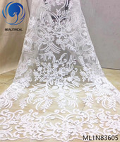 Beautifical nigerian lace fabrics embroidered net lace fabric Fashion elegant french bridal lace white for wedding ML1N836