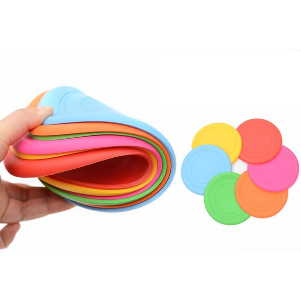 Soft Silicone Throw Catch Disk Safety Flying Saucer Fun Outdoor Dog Toys Pet Sports Disc Comfortable Pet Supplies