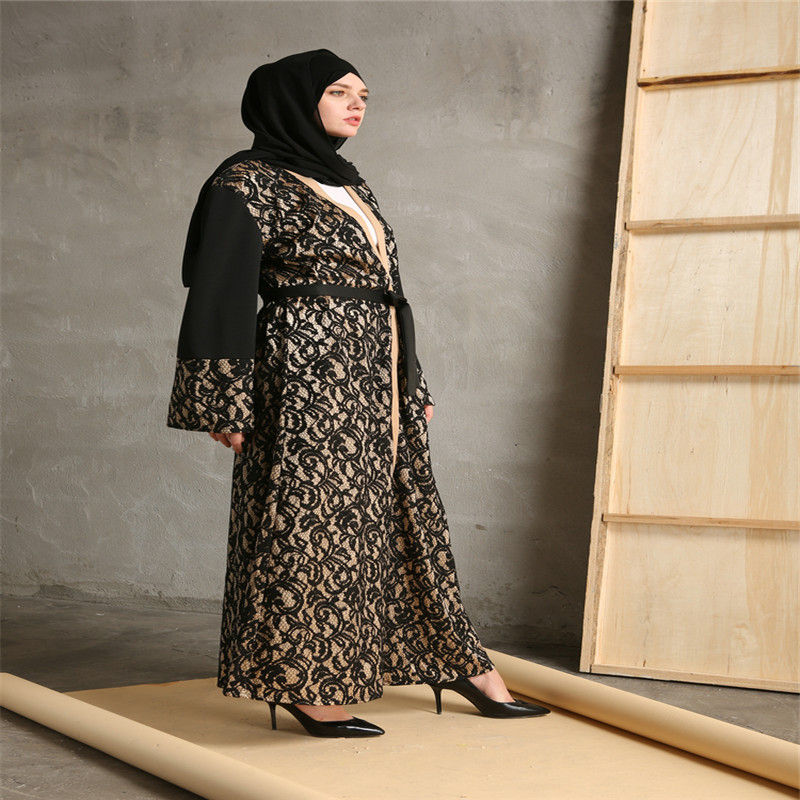 Mode Musulman Abaya Robes Ouverts Cardigan Patchwork Robe Maxi Robe - Vêtements nationaux - Photo 4