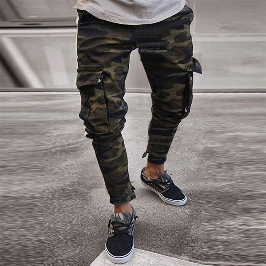 Jeans Cargo-Pants Pleated Slim-Fit Stretch Ripped Freyed Mens Skinny Camouflage Cotton