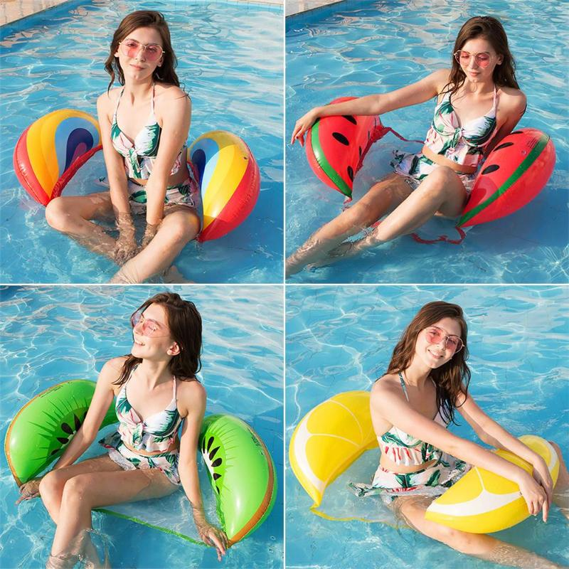 PVC Inflatable Float Floating Water Loungers Foldable Water Lounger Double-use Backrest Floating Row Water Recreation Chair