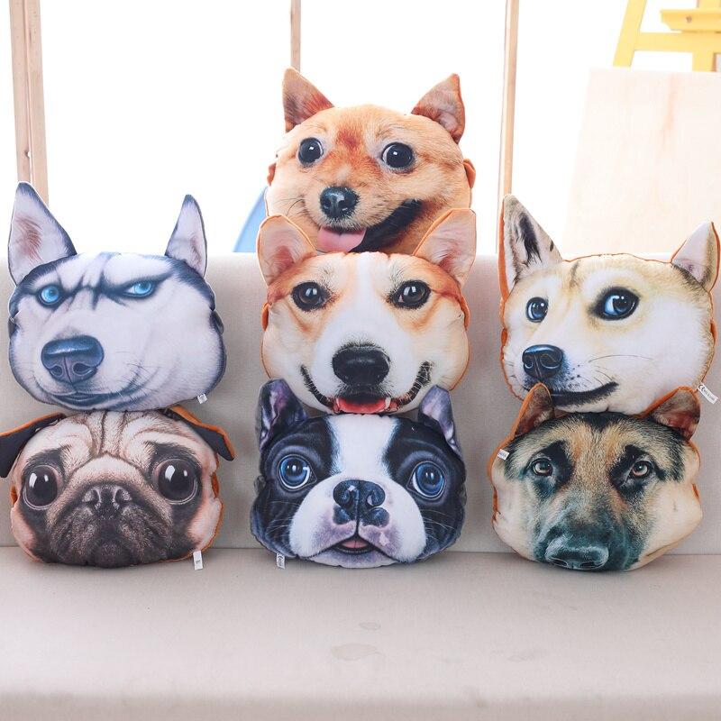 3D Car Headrest Neck Rest Lovely Dog Cute Cat Stuffed Animal Husky Pillow Cushion Birthday Gift For Friends