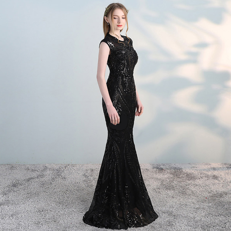 Blue Black Champagne Sequins Backless O Neck Mermaid Elegant Dresses Sexy Long Evening Party Dress Nightclub Gown 2019