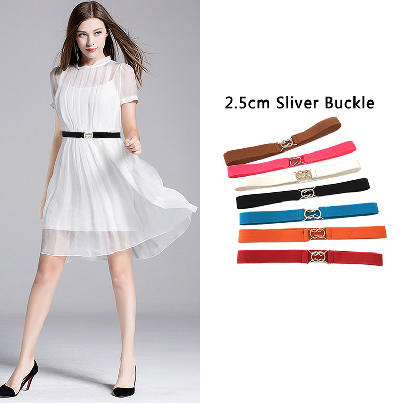 Seabigtoo Silver buckle Elastic   Belts   For Women   Belt   High Quality Silver bow Buckle women   belts   waist band Stretch Knit cinch