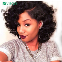 Virgo Short Curly Lace Front Human Hair Wigs For Black Women Natural Hairline Remy Peruvian Lace Wig Human Hair Free Shipping