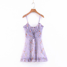 NiceMix 2019 New Summer Floral Spaghetti Strap Chiffon Dress Sleeveless Lace Up Hollow Out A-line Mini Party