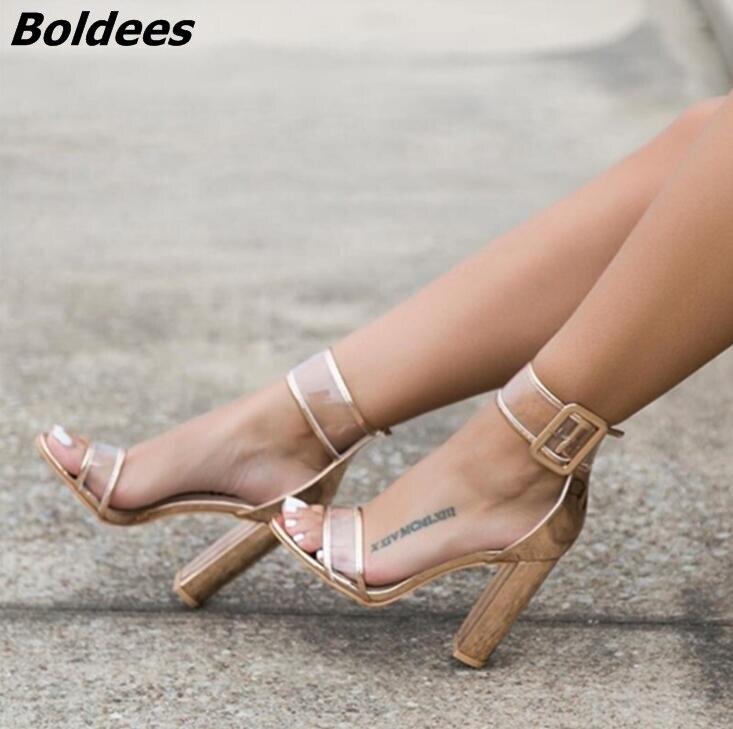 Просто линии пряжки Стиль черная замша на не сужающемся книзу массивном Сандалии на каблуке пикантные туфли с открытым носком на прозрачно... - 4