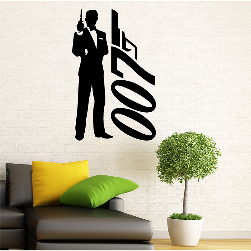 james bond wall decal wall vinyl sticker secret agent 007. Black Bedroom Furniture Sets. Home Design Ideas