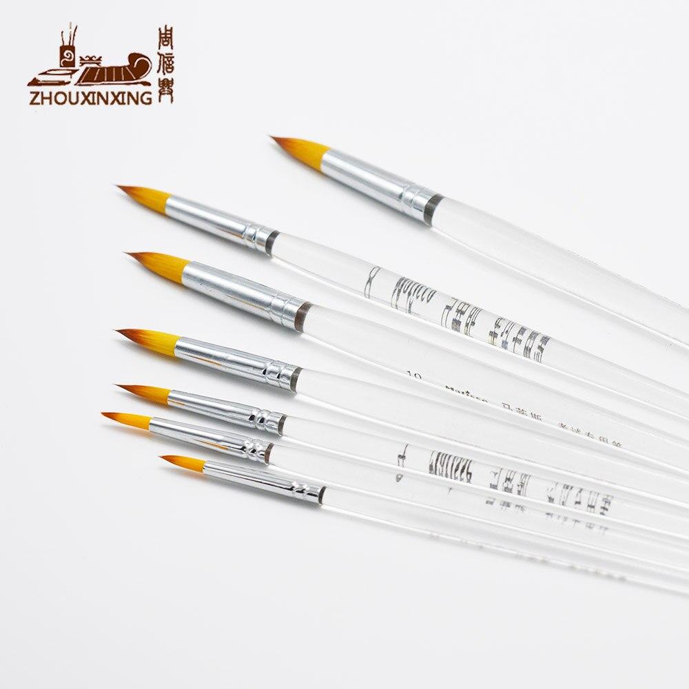 ZHOUXINXING Gradual Change Color Round Head High Quality Nylon Gouache Brush Acrylic Organic Short Rods 7 Pcs Artist Paint Brush