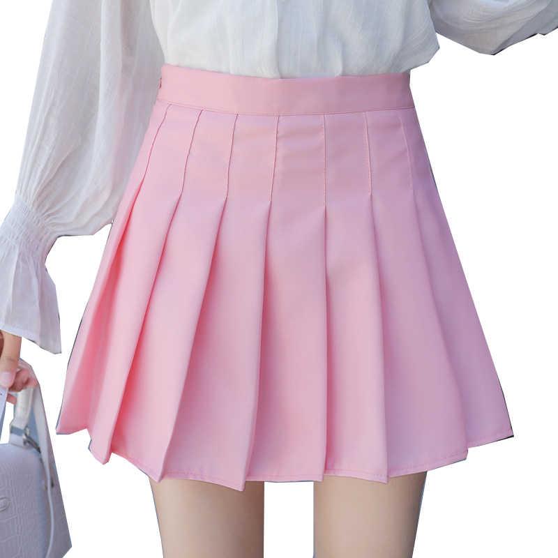 9048b58c8 Gowyimmes Women pink high waist pleated skirt Wind Cosplay solid skirt  kawaii Girl Simple A-