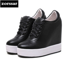 Zorssar 2019 Genuine leather Women Creepers shoes Increasing Height Shoes Casual Lace up Platform Wedges women Footwear