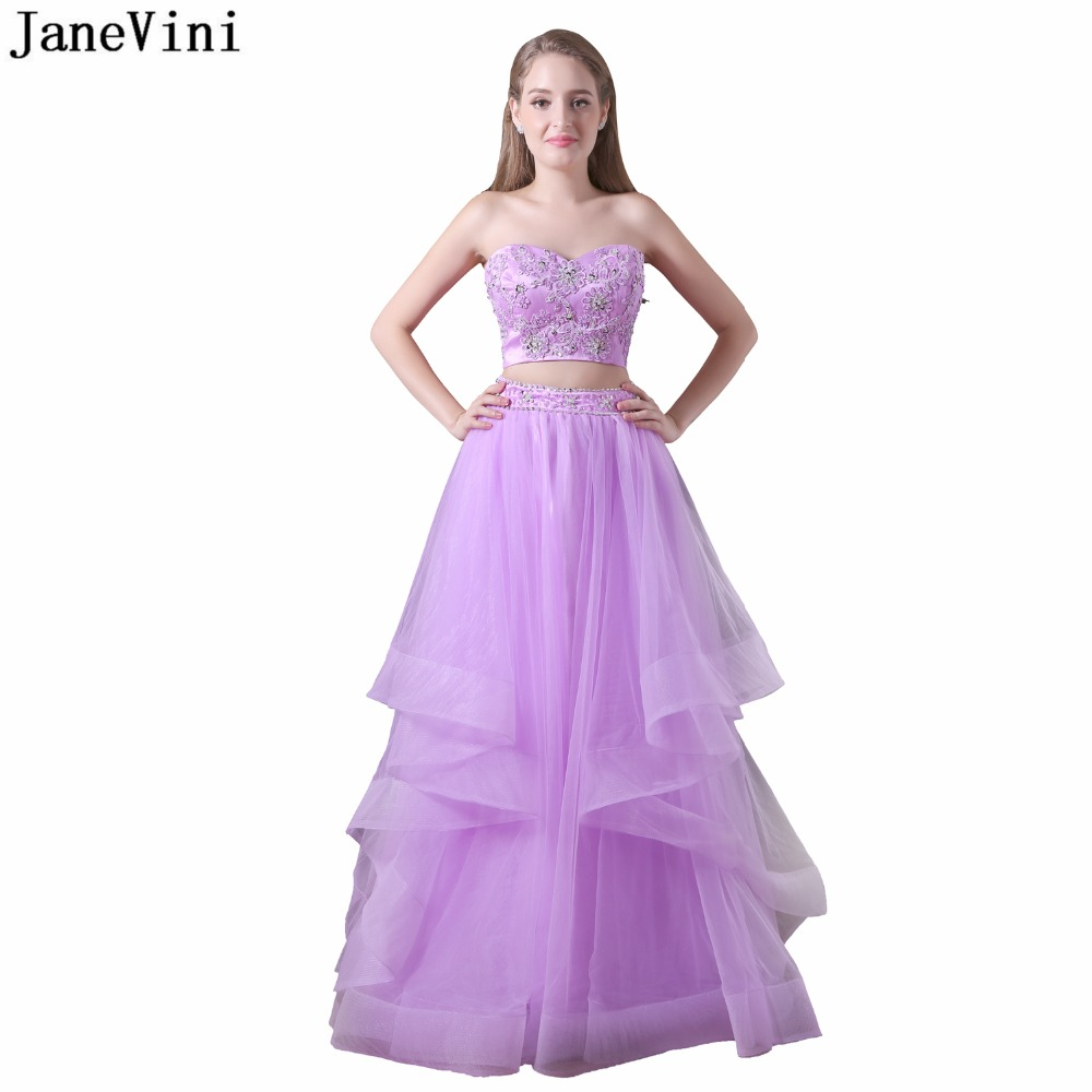 JaneVini Sexy Two Pieces   Bridesmaid     Dresses   Sweetheart Lace Appliques Sequined Tulle Prom Party Gowns Vestido Madrinha Plus Size