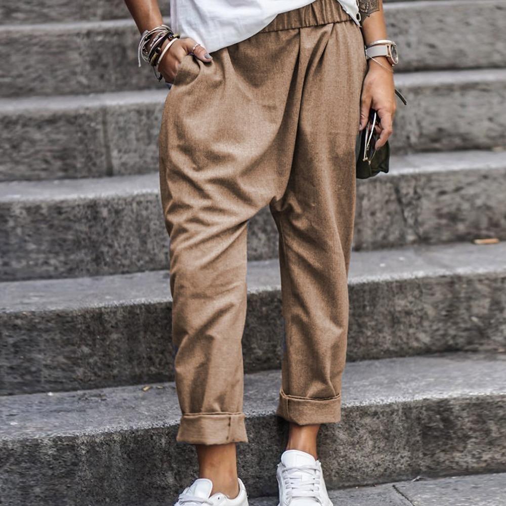 Summer Plus Size Women's Pants Casual Loose Women's Trousers Solid Pockets High Waist Pants Female Elastic Waist Harem Pants 5XL