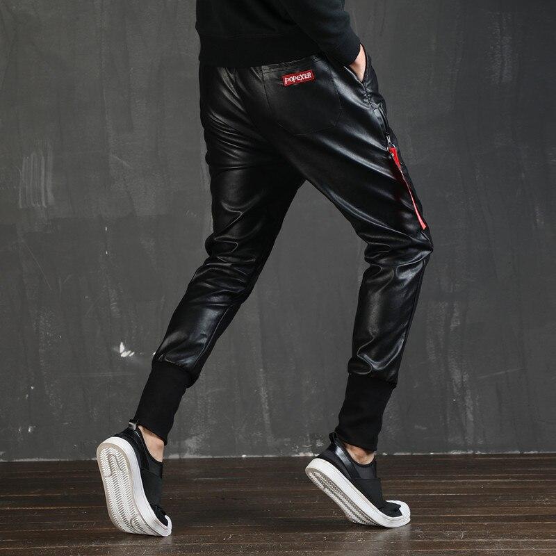 Hop Mode Noir Faux En Hip Harem Style Joggers Pantalon Mâle Hommes Élastique Punk Taille Cuir Pu Pour rqwYYXxEa