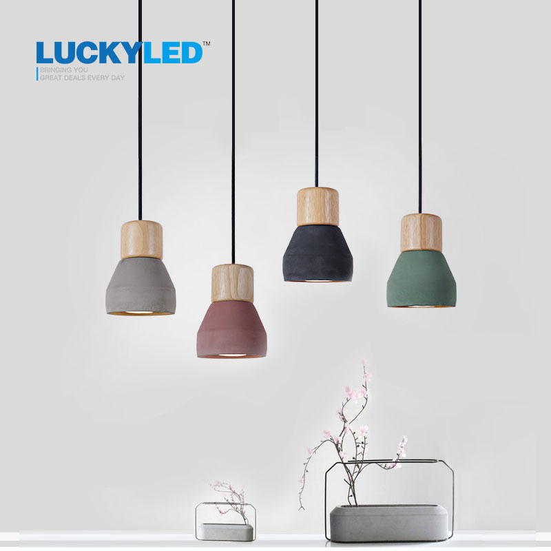 American Country Style cement Pendant Light 120cm wire E27 E26 Socket Droplight 4 colors wood indoor
