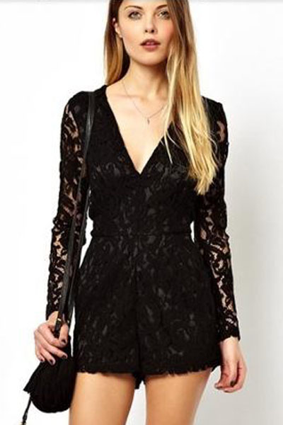 b13bfdd00d8 Black Alluring Deep V Neck Long Sleeve Lace Romper Hollow Out Women  Playsuits Lace Long Sleeve Sexy Party Jumpsuits Short Romper