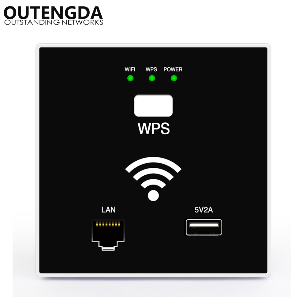 300Mbps in Wall WiFi router Access Point Wireless Socket AP for Hotel Project Support AC Management & RJ45 USB WPS Encryption