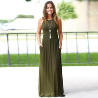 dress womens summer dress sexy woman polyester casual Dress Solid Long Boho Dress Lady Beach Summer Sundrss