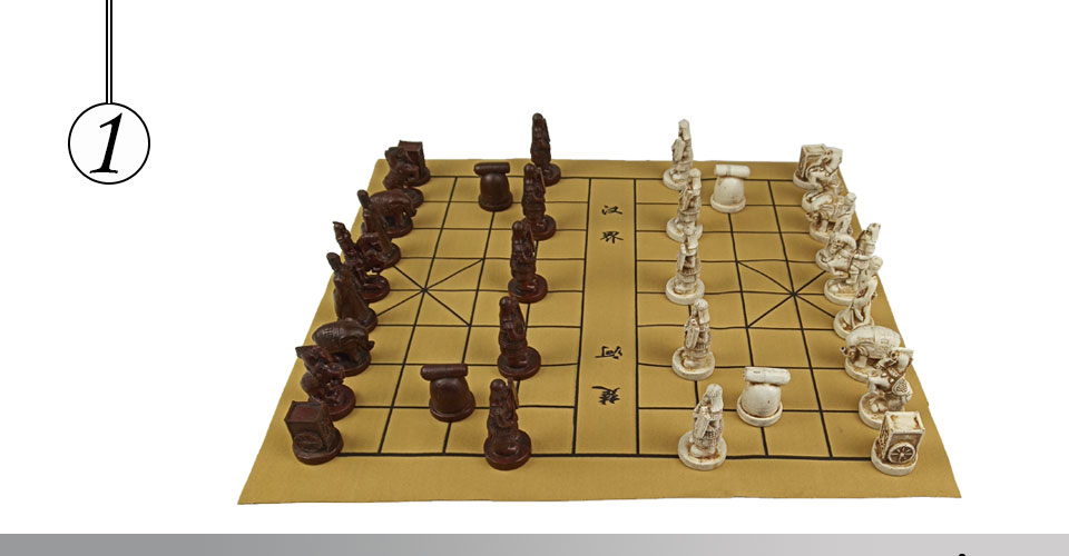 Easytoday Chinese Chess Games Synthetic Leather Chessboard Chinese Terracotta Warriors Resin Chess Pieces Table Games Birthday Gift (1)