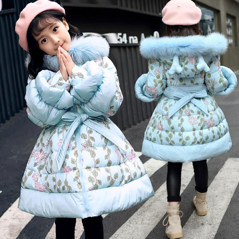 2018 Girl Big Fur Collar Hooded Jacket Kids Faux Fur Coats Girls Long Winter Warm Windproof Jackets Fashion Children Down
