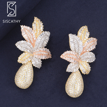 SISCATHY Luxus Blume Blätter Fallen Ohrringe Trendy Zirkonia Nigerian Hochzeit Schmuck Lange Tropfen Baumeln Ohrringe Für Frauen