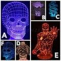 NUEVA LED Luz de La Noche 3D Lámpara de estado de Ánimo de Vacaciones de Navidad Atmósfera Cráneo Spiderman Ironman Que Cambia de Color de Iluminación USB Como Regalos