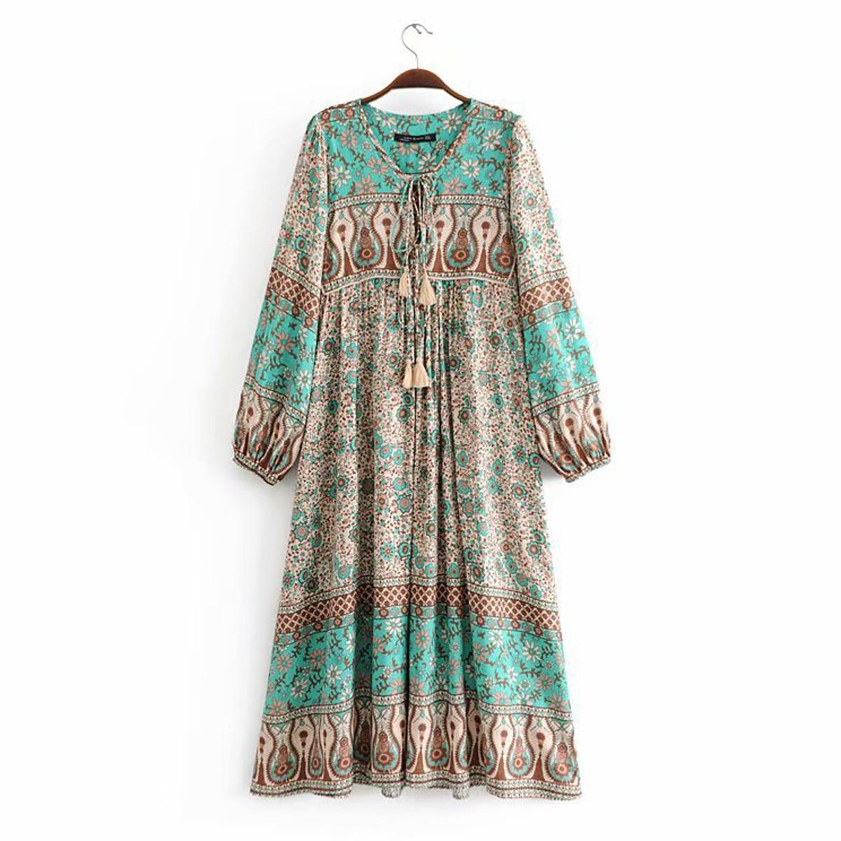 Gypsy Hippie Floral Print Dress 2018 Autumn Boho People Women Sexy Tassel V-Neck Long Sleeve  Bohemia Midi Dress