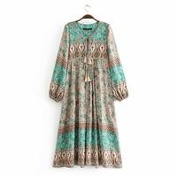 Gypsy Hippie Floral Print Dress 2018 Autumn Boho People Women Sexy Tassel V Neck Long Sleeve Bohemia Midi Dress