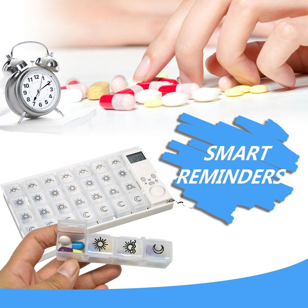 7 Tage Tabletten Pill Box Medizin Pille Fall Veranstalter LED Timer Erinnerung Weekly Pill Lagerung Dispenser Wecker 28 Grids