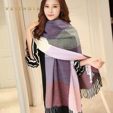 VEITHDIA 2019 Autumn Winter Female Wool Scarf Women Cashmere Scarves Wide Lattices Long Shawl Wrap Blanket Warm Tippet wholesale cheap Adult Acrylic Scarf Shawl Plaid Fashion 175cm WJ03