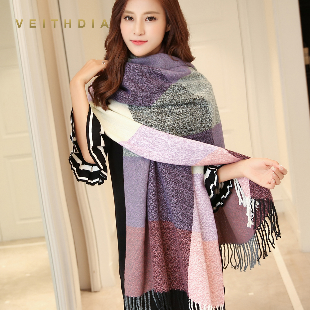 VEITHDIA 2019 Autumn Winter Female Wool Scarf Women Cashmere Scarves Wide Lattices Long Shawl Wrap Blanket