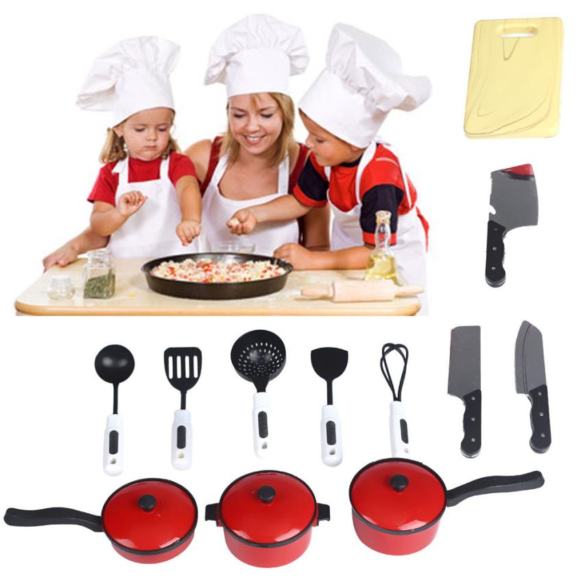 2017 New Style 12pcs Playhouse Toys Small Chef Kitchenware Simulation Kitchen Utensils Kids Toy Pretend Play Kitchen Play set