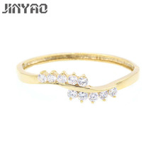 JINYAO Fashion White Gold Color Water Drop Red Stone & Zircon Charm Wrist Bracelet Bangle For Women Wedding Party Jewelry