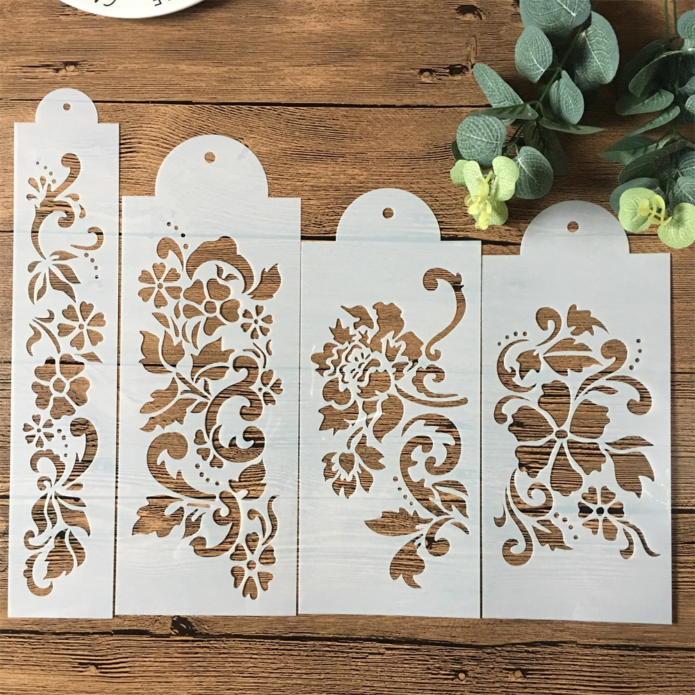 4Pcs/Set 27.5cm Flower DIY Layering Stencils Wall Painting Scrapbook Coloring Embossing Album Decorative Template