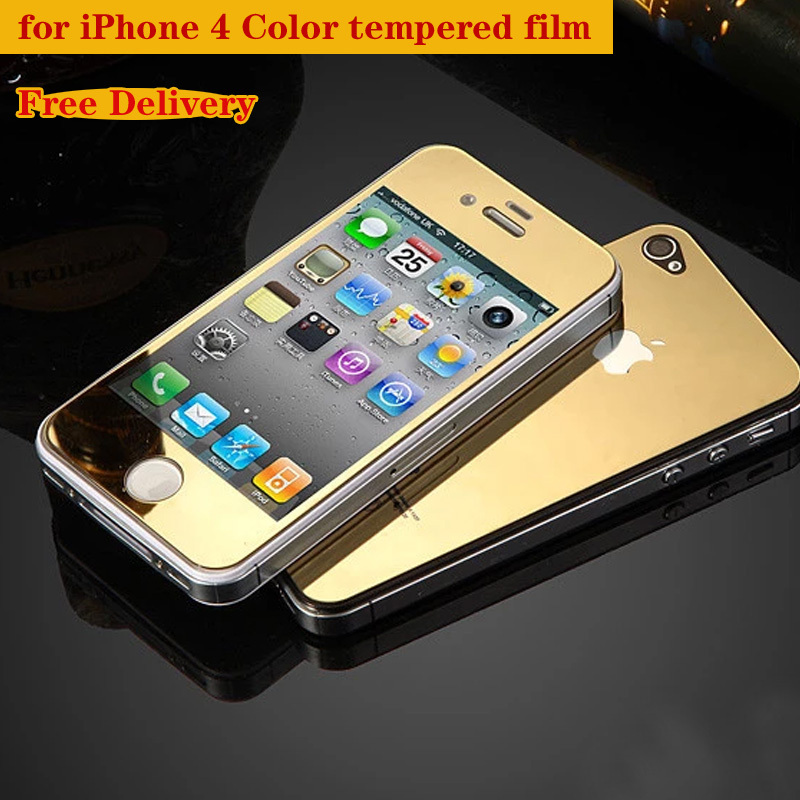 fbffa336033 Front+Back Tempered Glass For iPhone 4 4s 5 5s 6 4.7 6s plus Full Cover  Screen Protector Mirror Effect Color protective film-in Phone Screen  Protectors from ...