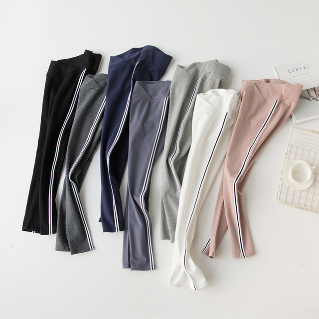 Ankle-length Women's Lifting Pants Large Size Spring and Autumn Cotton Cross Low Waist Side Stripe Maternity Pants Wear Leggings