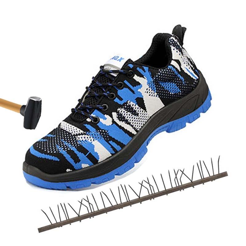 0513556581 Local Inicialização marrom Indestrutível Aço Que De Proteção Trabalho  Biqueira quebra Segurança Azul Anti Sapatos Caps ...