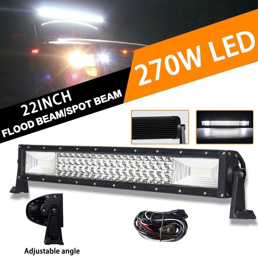 Faisceau combiné 12 V 24 V de tache d'inondation de lumière LED de barre de barre de LED de puissance élevée droite de Tri-rangée 22 pouces pour le guide optique de travail de LED d'atv