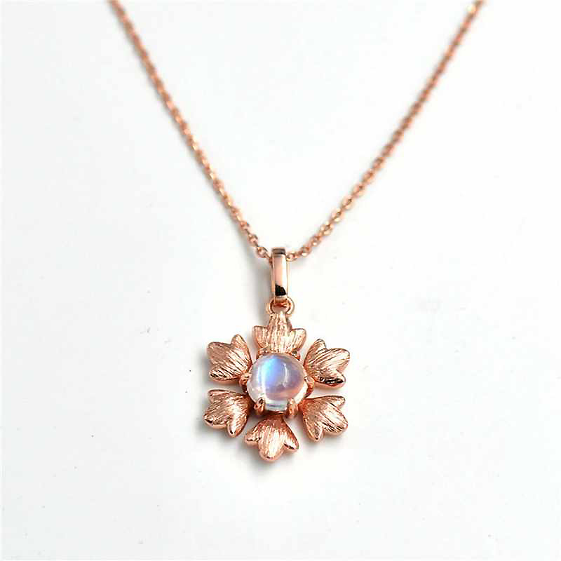 Ruifan Palace Retro Fashion Moonstone Gemstone Pendant Necklace 925 Sterling Silver Rose Gold Flower Choker Necklaces YNC072 alloy rose flower pendant necklace