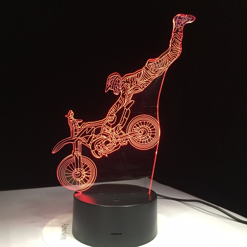Acrobatic Motorcycle 3D Lamp 7 Colors Touch Control Led Visual Gift 3D Led Night Light Kids Room Led Lights Lamp Drop Shipping