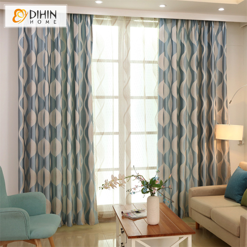 Dihin 1 Pc Blue Wave Simple Modern Curtains For Living