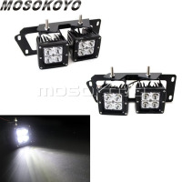 For Dodge RAM 1500 2500 3500 4pcs LED Fog Light Metal Bumper Mounting Bracket Spot Beam Fog Lamp 2009 2012