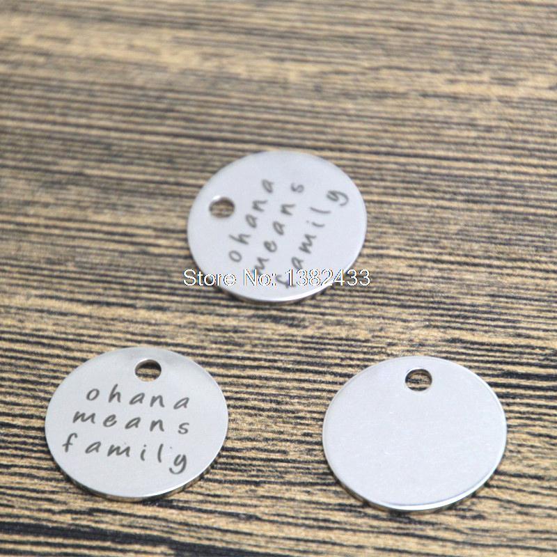 10pcs ohana means family charm silver tone lilo and stitch message charm pendant 20mm