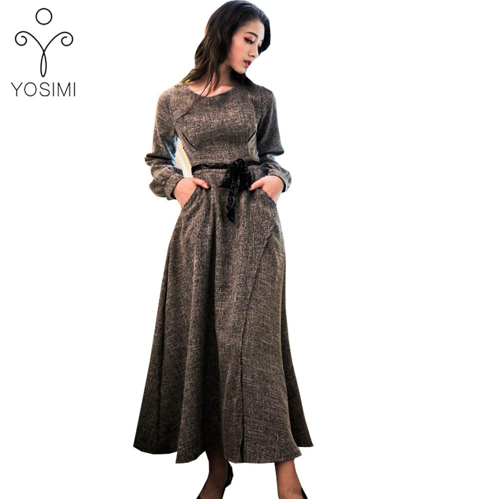 5be26b492f0 YOSIMI 2019 Pring Макси вышивка длинное женское платье с воротником ...
