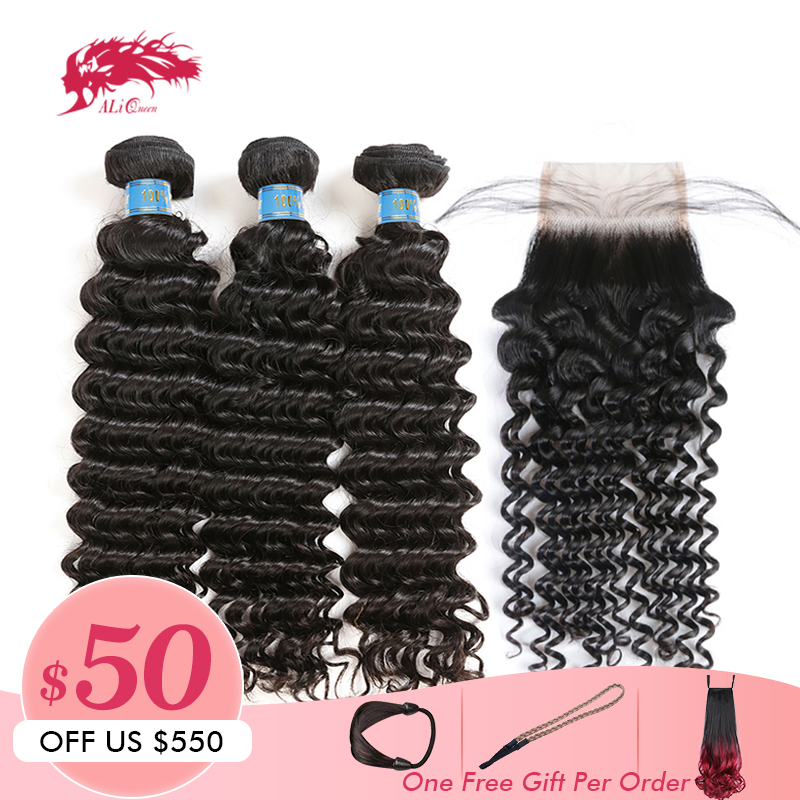 Ali Queen Hair Products Peruvian Virgin Hair Deep Wave Curly Human Hair Bundles With Closure 3