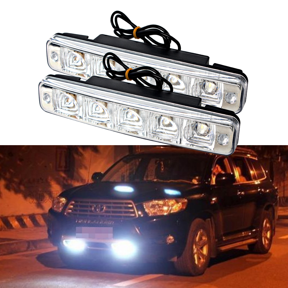 2 pezzi LED DRL Luce di marcia diurna 5 LED Automobili super luminose Fendinebbia Luce diurna Impermeabile Car-styling